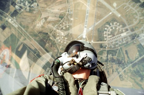 "F-16 Pilot looking over his shoulder to ""check his 6 o'clock"""